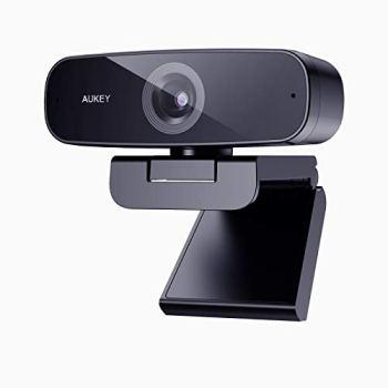 AUKEY Webcam 1080p Full HD avec Microphones de Réduction de Bruit Stéréo Caméra Web Caméra d'ordinateur USB pour PC Portable Appel Vidéo de Bureau, Conférence