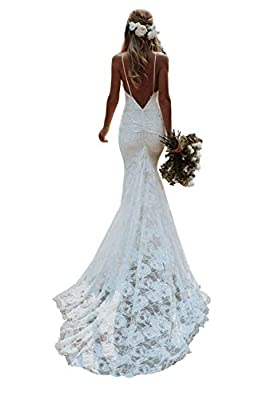 Material: High quality lace& tulle. 100% hand-made. Built-in Bra Features: lace beach wedding dresses with appliques, long bohemian mermaid bridal gowns with train, mermaid princess bridal dresses for women Size selection: please refer to our size ch...