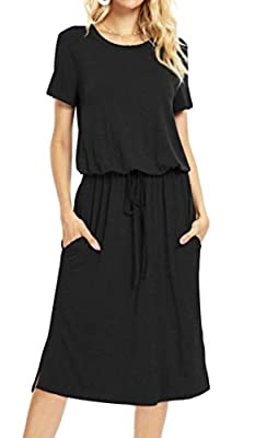 Smart and Free Waistline Design: Using elastic waist and removeable drawstring to adjust waistline position freely. Cute and modest mid length, long enough to cover knee, and the dress length can be adjusted through the smart waistline. Not just casu...
