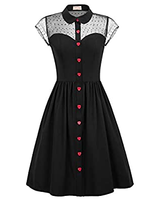 Features: 50's Vintage Style,short sleeve,lapel collar,puffy sleeve,sweetheart neckline,sheer mesh at the top with pin dots Red heart shaped buttons is not only adorable but also versatile This Vintage Dress is great for prom, bridesmaid, wedding par...