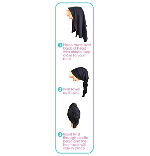 Hair RePear Ultimate Hair Towel for Long Hair - Anti Frizz Premium Cotton Product to Enhance Healthy Natural Hair Perfect for Plopping Wrapping Scrunching Straight Wavy or Curly Hair -21x44in Black 8
