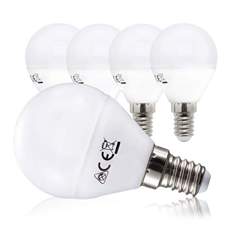 Lampadine LED luce calda con attacco E14 (piccolo), 5W equivalenti a 40 W, 470 Lumen, set di 5, luce a sfera per plafoniere e lampade, per illuminazione da interno, luce calda 3000K