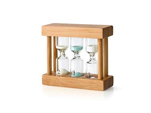 heller Bambus-Teatimer 3in1 farbige Sanduhr 2, 3 & 5 min.