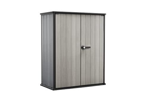 Keter High Store Box Porta Attrezzi, da Esterno, Grigio, 140 W x 73.6 D x 170.4 H cm