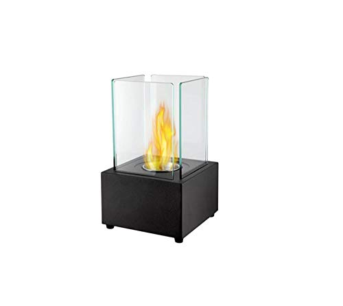 Tabletop Biofireplace Portable Ethanol Fireplace Ornaments for Indoors and Outdoors Decoration-Black