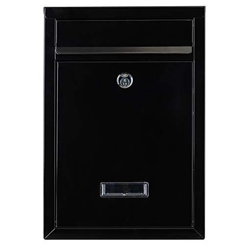 Briefkasten schwarz 32x22x10cm| inkl. 2 Schlüssel | Namensschild | abschließbar | witterungsfest | Mailbox Briefkastenanlage Postkasten als Briefkastenanlage geeignet