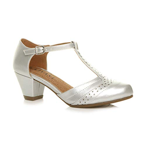 Femmes Talon Moyen découper Chaussures Richelieu Escarpins Pointure 5 - Argent Métallique - 38 EU