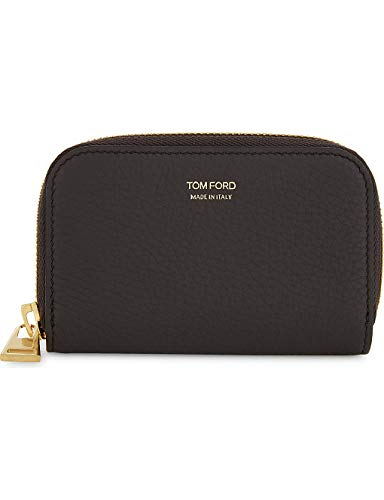 Tom Ford Grained Leather Brown Wallet Gold Zip Y0240F-C95 BNWT Logo Purse
