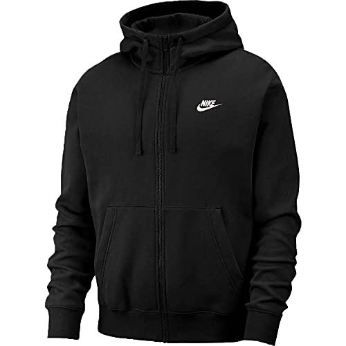 Nike Club FZ BB Felpa con Cappuccio a Zip Intera Black/Black/White XXL