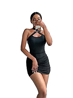 High stretch fabric, comfortable to wear and let you feel free to move Sleeveless, crisscross, ruched and bodycon design is a elegant dress for your summer time, the above knee length tailored for any body line, it will be a good choice for you Halte...
