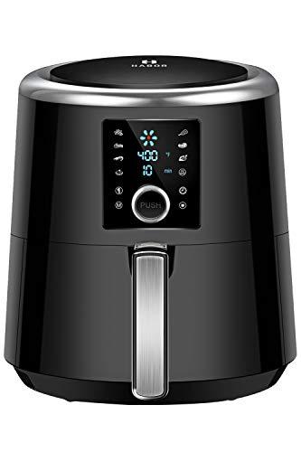 OMORC Habor Air Fryer, 6 Quart Pot & 5.8QT Basket, 1800W Fast Large Hot Air Fryers & Oilless Cooker w/Presets, LED Touchscreen(for Wet Finger)/Roast/Bake/Keep Warm, Suitable for Dishwasher, Nonstick