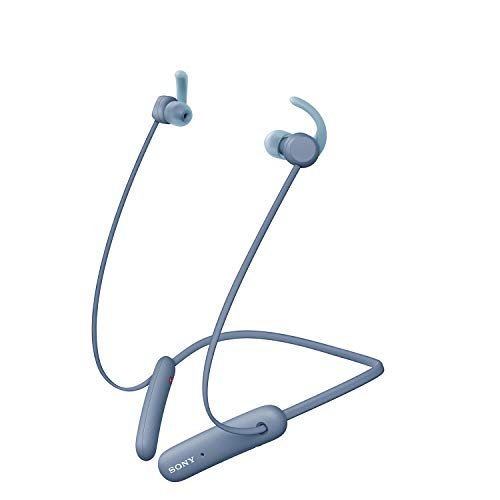 Sony WI-SP510 Wireless Sports Extra Bass in-Ear Headphones with 15 hrs Battery, Quick Charge, Magnetic Earbuds, Tangle Free Cord, BT Ver 5.0, Bluetooth Headset with Mic for Phone Calls/WFH (Blue)