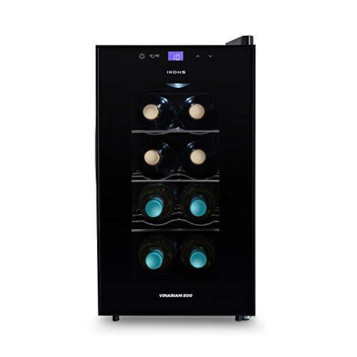 IKOHS WINECOOLER S - Cantinetta da 8 bottiglie, 23 l, 60 W, luce LED, display digitale, 3 ripiani, doppio isolamento, zone di temperatura da 8 a 18 gradi, ripiani in acciaio inox