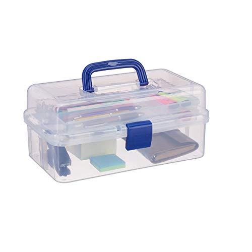 Relaxdays Scatola Trasparente Plastica, 9 Scomparti Per Oggetti Piccoli, Maniglia Per Trasporto, Chiusura A Scatto, HBT 14x33x19 cm, Blu