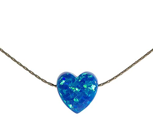 Royal Blue Opal Heart necklace Sterling Silver wire-cable Length 41 cm/16 inch+5cm Extender