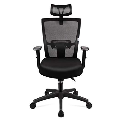 mfavour Bürostuhl, Ergonomisch Schreibtischstuhl Computer Stuhl drehstuhl mit Netz-Design-Sitzkissen, Verstellbare Wippfunktion, Armlehne, Sitzhöh, Kopfstütze Maximale Belastbarkeit 135 kg, schwarz