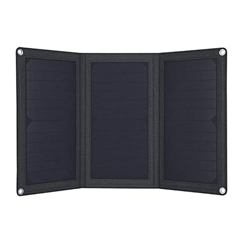 AUKEY 21W Solar Charger with Foldable SunPower Solar Panels & Dual USB Ports Compatible iPhone iPad Samsung and More