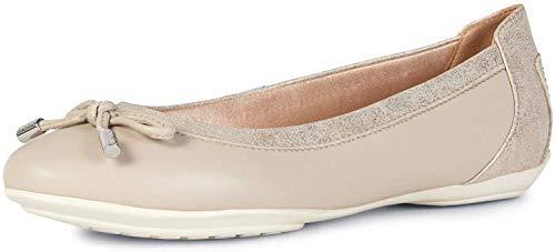 Geox Mujer Bailarinas, Merceditas D Charlene, señora Bailarinas Clásicas, Zapatos Planos,Zapatos del Verano,Elegante,Beige/LT Gold,40 EU / 7 UK