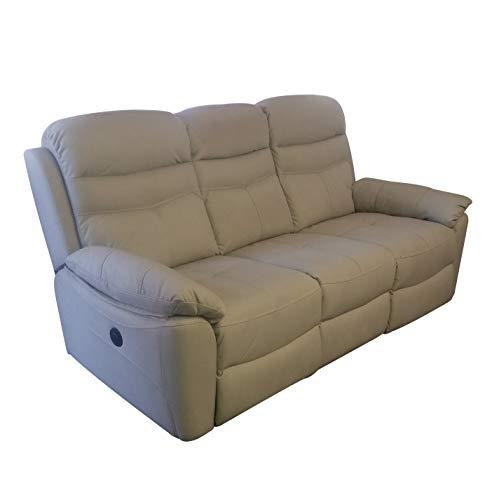 R R DESIGN Divano a 3 posti Relax Motore Elettrico reclinabile Tessuto Modello Leone col Grigio