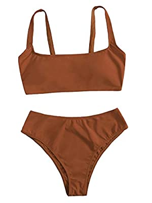 Features: Plain, sleeveless, scoop neck, high waisted bikini bottom, two piece swimsuits. Soft with good elasticity, comfy to wear. Please refer to our Size Chart(Not Amazon).Recommend to CHOOSE One/Two Size Up! Package Including: 1×Bikini set(top & ...