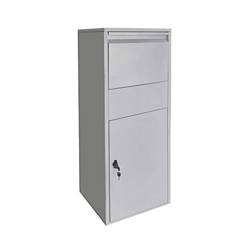 Paketbox Standbriefkasten silberfarbend Paketannahme für Zuhause passend für Pakete der Größe S u. L