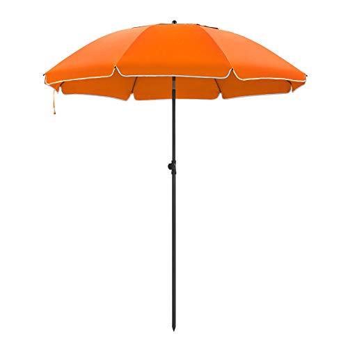 SONGMICS Sonnenschirm, 200 cm, Sonnenschutz, achteckiger Strandschirm aus Polyester, Schirmrippen aus Glasfaser, knickbar, mit Tragetasche, Garten, Balkon, Schwimmbad, Orange GPU65OGV1