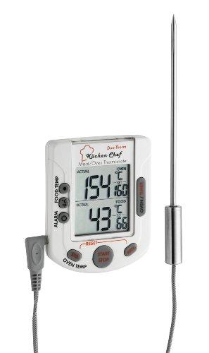 TFA Dostmann Küchen-Chef Duo-Therm Digitales Grill-Braten-/Ofenthermometer, Kerntemperaturkontrolle, Fleischthermometer, Temperaturfühler, Timer, Temperaturvorgabe
