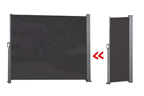 909 OUTDOOR Ausziehbare Seitenmarkise für Terrasse Schwarz, Balkon und Garten, Windschutz stehend aus Polyester, Sonnenschutz, Sichtschutz, 150 x 300 cm