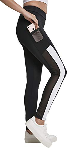 Urban Classics Ladies Tech Mesh Striped Pocket Leggings, Black/White, Größe L