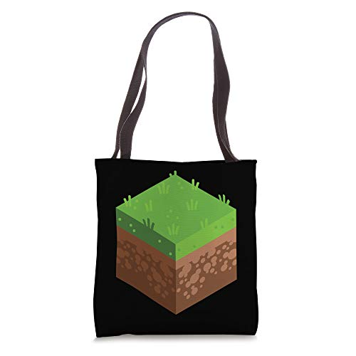 Gaming PC Video Game Dirt Grass Block Cool Gamer Gifts Tote Bag