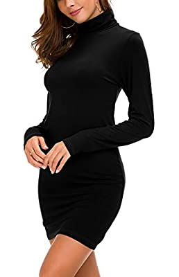 Lightweight soft fabric, skin-friendly, breathable and elastic Warm turtle neck for a streamlined silhouette, simple and elegant style shows your figure perfectly The T-shirt dress is also can be worn as long t-shirt,great for daily wear in spring, s...