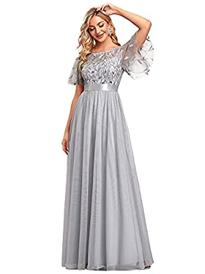 Fully lined, no built-in bras Features: A-Line, empire waist, flared sleeves, embroidery upper half, floor length lace prom dress Delicate embroidery design with flared sleeves, this prom dress is more elegant and flattering Perfect for wedding party...