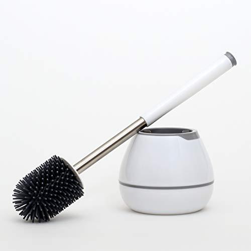 MiReMi Toilettenbürste aus Silikon - Klobürste mit Halter - Perfekte WC-Garnitur - Hochwertige WC-Bürste mit Bürstenhalter - Edelstahl - leicht abwaschbar - weiß