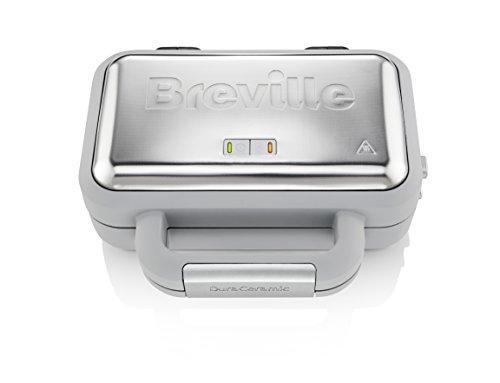Breville DuraCeramic Waffeleisen | Antihaftbeschichtung und leichte Reinigung + tiefe, abnehmbare Platten | Weiß und Edelstahl [VST072X]