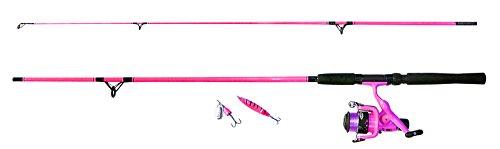 Fladen pesca'My Deadly' 1.95m 2pezzi canna da pesca e mulinello con linea, spinner e cucchiaio (verde o rosa)ideale spinning e uso generico starter set di introduzione, Pink