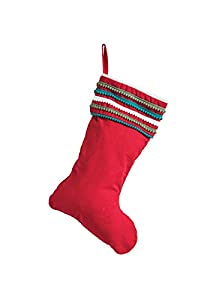 The perfect stocking to decorate your fireplace mantel Blue, green & white pom poms bring a fun touch to the cuff of this stocking Red cotton loop for hanging It will be the first thing the children grab on Christmas morning
