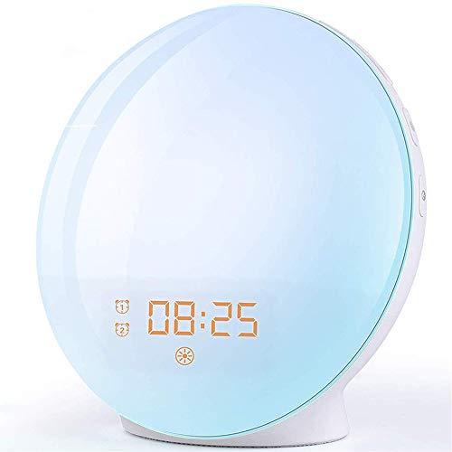 Wake Up Light Despertador Luz - LED Despertador Amanecer Simulación de Amanecer y Anochecer, 2 Alarmas, 7 Luces de Colores, 20 Niveles de Brillo, Función Snooze, 7 Sonidos Naturales, Radio FM