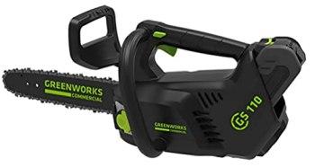 Greenworks Tronçonneuse à batterie GD40TCS (Li-Ion 40V 25cm longueur de sabre 120ml volume du réservoir d'huile moteur puissant sans balais sans batterie et sans chargeur)