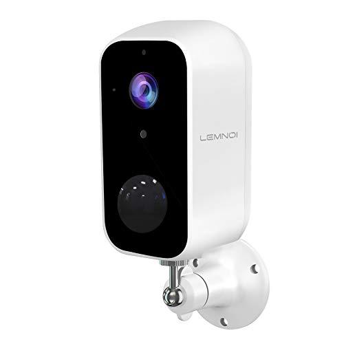Lemnoi Telecamera di Sorveglianza Batteria con 10000mAh,Telecamera di Sicurezza Batteria WIFI Esterna 1080p,Visione Notturna,Rilevamento Movimento PIR,Audio Bidirezionale,IP65 Impermeabile
