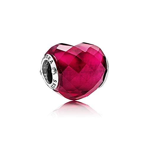 Pandora Moments Fuchsia Herz-Charm Kristall, Sterling Silber 796563NFR
