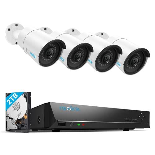 Reolink 5MP Kit Videosorveglianza PoE, 8CH 2TB 4K NVR con 4X 5MP Telecamera Esterno IP PoE Impermeabile, Visione Notturna di 30 Metri, Rilevazione del Movimento, Registrazione 24/7, RLK8-410B4-5MP