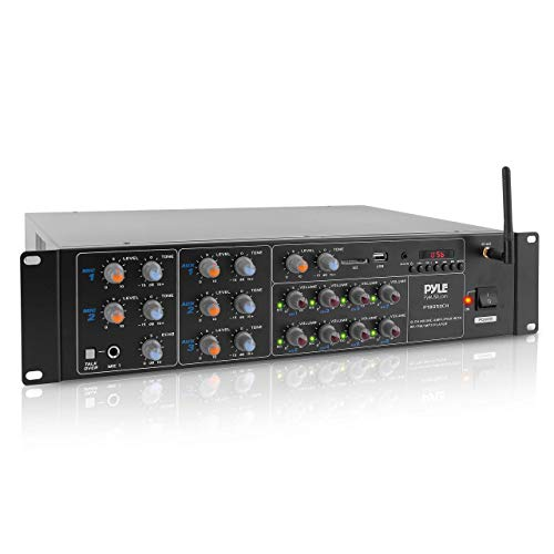 8-Channel Wireless Bluetooth Power Amplifier - 4000W Rack Mount Multi Zone Sound Mixer Audio Home Stereo Receiver Box System w/ RCA, USB, AUX - For Speaker, PA, Theater, Studio/Stage - Pyle PT8050CH