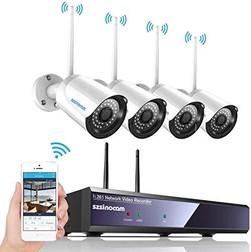 Kit Telecamere Videosorveglianza WiFi 4CH NVR da Esterno, SZSINOCAM Telecamera Sorveglianza 1080P Full HD con Visione Notturna,Motion Detection,Allarme E-mail,IP66 Impermeabile,plug&play