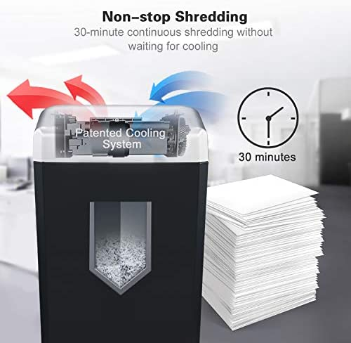 Paper Shredder Heavy Duty, Bonsaii 14-Sheet 30-Minute Cross-Cut Paper Shredders for Office Heavy Duty with 4.8 Gallons Large Pullout Basket, Jam Proof Quiet Shredding Credit Card/Staples 10