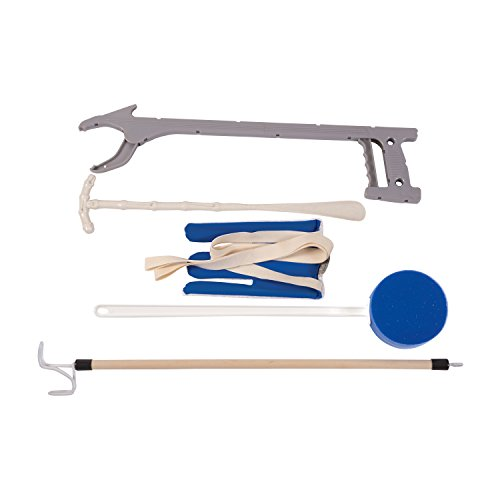 DMI Reach Assist Dressing Aid Kit with Sock Aid, Dressing Stick, Reacher, Long-Handled Bath Sponge and Shoe Horn, Blue and White