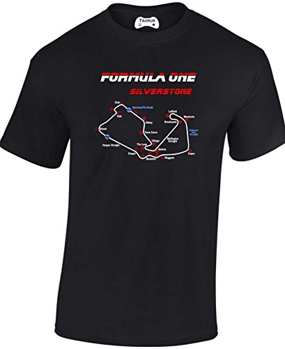 New Adult Silverstone Formula One Racing Track British Grand Prix Circuit T Shirt (XLarge) Black