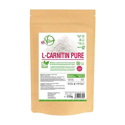 Mein Vita L-Carnitin PUR, 3000mg pro Portion Carnitin Tartrat, Hochdosiert, Vegan, 330g reines Pulver, 100{94aca3b7168f96eb753b8544cf8f3e4b1336d2f8dfd84ef65a9e29d4db059660} ohne Zusätze, hohe Bioverfügbarkeit