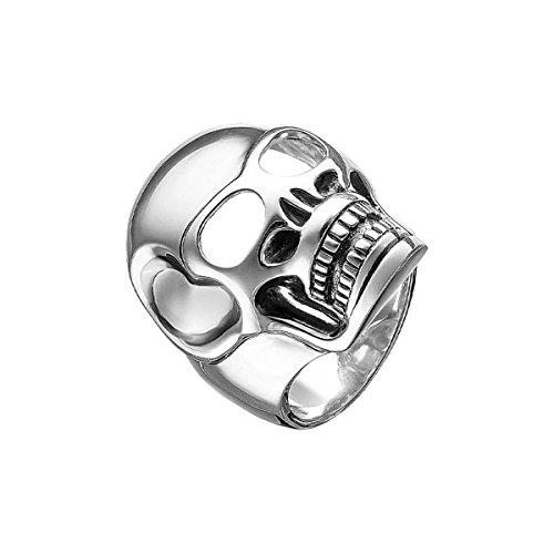 Thomas Sabo Rebel at Heart - Anillo para hombre, plata 925, diseño de calavera, talla 56 (17,8) - TR1704-001-12-56