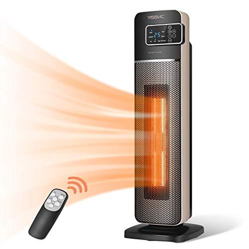 YISSVIC Radiateur Soufflant Electrique 2000W Chronométrage 9H Chauffage Céramique PTC Thermostat Ventilation Chaud Froid 3 Vitesses avec Télécommande