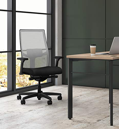Product Image 2: HON Ignition 2.0 Mid-Back Adjustable Lumbar Work Fog Mesh Computer Chair for Office Desk (Black Fabric)
